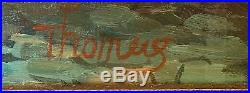 Antique Vintage Oil Canvas European Street Scene Signed Thomas Framed 16 x 12 EU