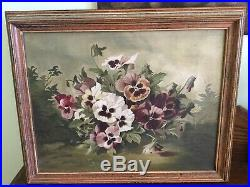 Antique Vintage Oil On Canvas Of Pansies Signed Framed Early 1900's