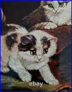 Antique Vintage Oil Painting Cats Kittens Playing in a Interior Scene Signed Art