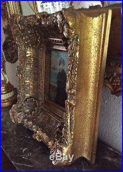 Antique Vintage Oil Painting Portrait of a French Woman In Harbor Signed Framed