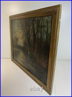 Antique Vintage Original Oil on Canvas Signed Landscape River Full Moon Camping
