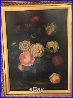 Antique/Vintage Original Oil on Canvas Still Life FLORAL Painting, Signed Milliam