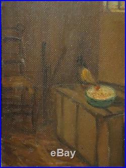 Antique Vintage Painting Folk Art Barn Scene Chicken Farm Signed