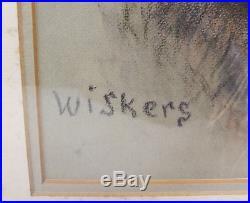 Antique Vintage Pastel Painting Folk Art AMericana Dog Wiskers Signed