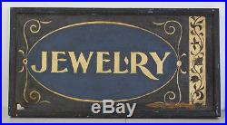 Antique Vintage Sand Paint on Wood Gold Paint Jewelry Store Sign Free Shipping