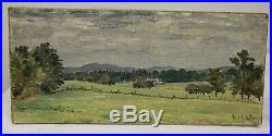 Antique Vintage Signed Initialed Landscape Painting Oil on Artist Board