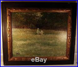 Antique Vtg Impressionistic Oil Painting on Masonite Period Frame Artist Signed
