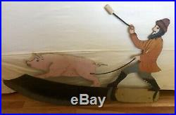 Antique Vtg Iron 35 French Butcher Pig Painted Advertising Primitive Trade Sign