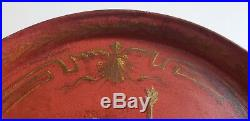 Antique or Vintage French Signed Painted Cherub Angel Tole Toleware Metal Tray