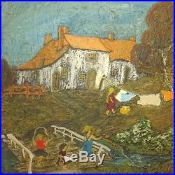 Antique painting primitive folk art signed children orange vintage framed child