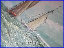 Antique signed fine original oil painting sailboats ocean Kainunt