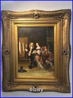 Antique vintage Gilt framed original signed oil painting superb
