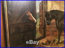 Antique vintage framed and signed original oil painting horses by osborne