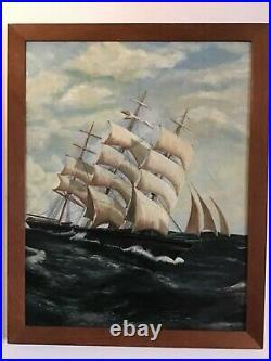 Antique vintage framed original signed oil painting