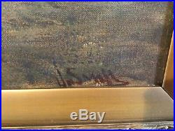 Antique vintage gilt framed and signed original oil painting Gypsy Camp HUGE