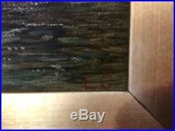 Antique vintage gilt framed original signed oil painting on canvas SUPERB