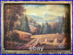 Antique vintage gilt framed original signed oil painting superb Van Veal