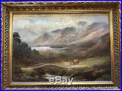 Antique vintage gilt framed very old signed original fine oil painting
