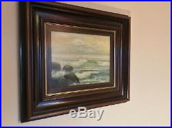 Antique vintage original framed and signed oil painting by puerto marinas