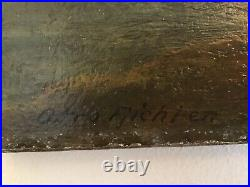 Antique vintage very old original oil painting on canvas signed Otto Richten