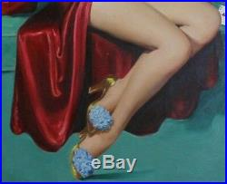 Art Frahm rare original oil painting I Deal vintage pin-up art 1940s INV MC100