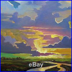 Art Painting Impressionism American Vintage Hawkins Oil Signed Glorious Clouds
