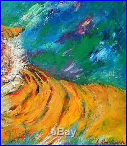 Att. Leroy Neiman Impressionist Tiger Vintage SIGNED Oil Painting NO RESERVE