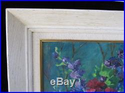Authentic MID CENTURY vintage oil PAINTING flowers vase FRAMED fine art SIGNED