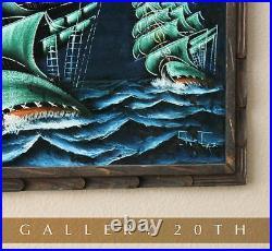 Aye! MID Century Modern Ships Painting! Vtg 50s Velvet Wall Art Sea Atomic Decor