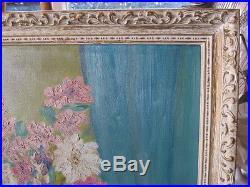 BETTY EVANS SIGNED MID CENTURY VINTAGE OIL painting FLORAL STILL LIFE FRAMED