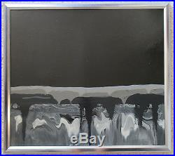 Baringer Vintage 1970's Abstract Drip Nocturnal Landscape Signed Painting