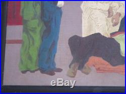 Baron Oil Painting Wpa Era Vintage American Regionalism Tragedy Art Deco Street