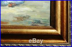 Beautiful Oil on Canvas Impressionist Vintage Beach Scene Illegibly Signed