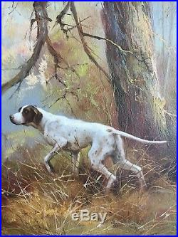 Beautiful Signed Kingman Acrylic Oil Painting Pointer Dog Hunting Fowl In Woods