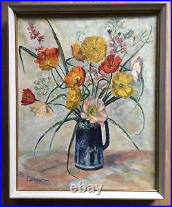 Beautiful Vintage Floral Still Life Oil Painting Canvas Bloomsbury Look Signed