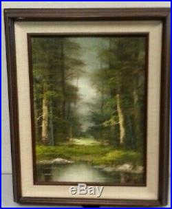 Beautiful Vintage Framed Oil Painting of Tree Landscape & Pond Signed by Artist