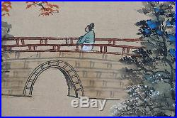 Beautiful Vintage Japanese Painted Folding Screen, Signed & Excellent Condition