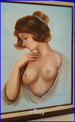 Beautiful Vintage Nude Female Painting On Canvas Signed and Framed By T. EDWARD