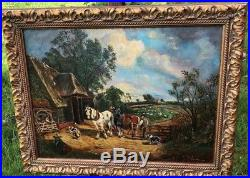 Beautiful Vintage Signed Oil Painting of Horses and Farmyard