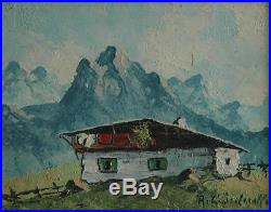 Beautiful Vintage Small Work Signed Oil on Masonite of Swiss Alps Scene With Home
