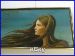 Becerra Painting Vintage Woman Female Retro 48 Inches Portrait 1970's Rare Art
