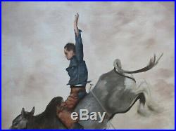 Betty Russell Painting Vintage Cowboy Western Bull Rider Portrait 1970's Art Oil