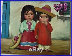 Big Eyes Original Oil Painting Harold Stephenson Abruzzi Two Little Children