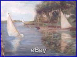Big Original Vintage Oil Painting Signed Sailboats Beach Landscape Folk Art