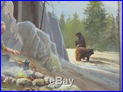 Bill Shaddix (b. 1931) Listed Vintage Bear Trouble Camping Landscape Painting