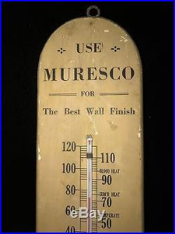 Black Friday 1910s BENJAMIN MOORE MURESCO PAINTS VINTAGE THERMOMETER WOODEN SIGN