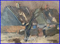 CARL BERNDTSSON (19021983) MID 20th CENTURY SWEDISH OIL HOUSES WINTER L/SCAPE