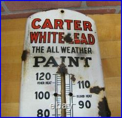 CARTER WHITELEAD PAINT Antique Porcelain Ad Thermometer Sign BEACH COSHOCTON O