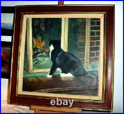 CAT & Brick FIREPLACE Vintage 1969 Oil Painting Signed Valiante Home Fire Screen