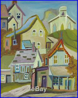Canadian Vintage Original Oil on Panel Streetscape Quebec Illegibly Signed qqoo